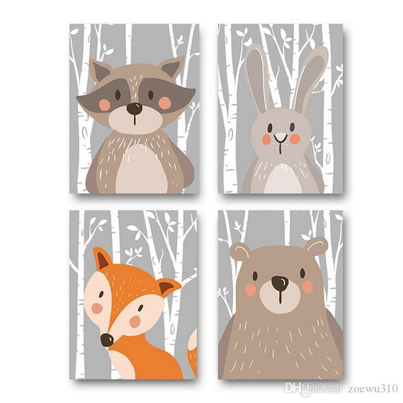 Cartoni animati dipinti animali bambini camera carino orso volpe coniglio raccoon decorazione dipinge pitture soggiorno poster party decor no fotogramma DBC DH1376