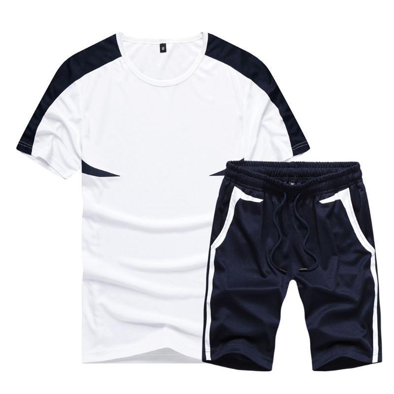 Männer-Übungs-Trainings-Strumpfhosen Set Mode für Männer gedruckte beiläufigen Sport Kurzärmlig Shorts Anzug Mens-Sommer-Rennen Sport Set #z