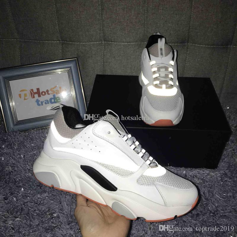 Formadores de becerro B22 zapatillas blancas más nuevos colores Hombres Mujeres Zapatos Casual 3D de la manera reflexiva al aire libre con la caja Formadores