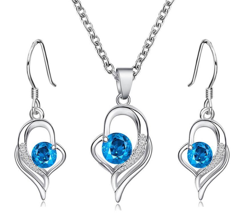 collier ensemble classique tempérament amour diamant bleu boucles d'oreilles ins femmes bijoux set amour de la chaîne Sen clavicule
