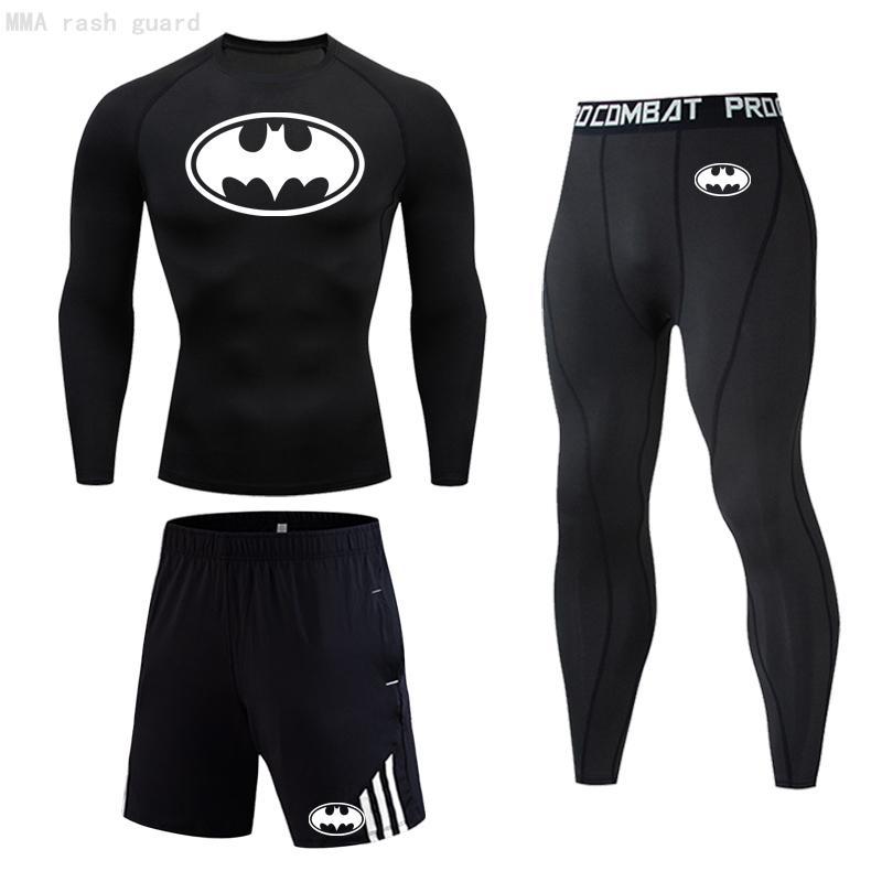 Hommes Quick Dry T-shirt à manches longues sport Leggings Survêtement Batman Compression Sportswear Course T-shirt Set Men