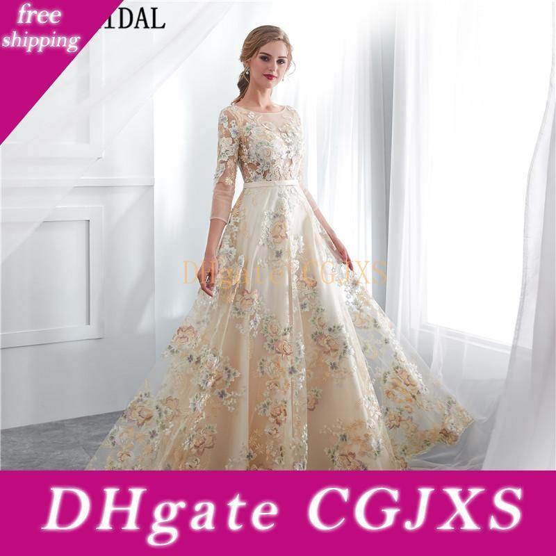 Mangas largas de encaje vestidos de baile Modelo elegante mujer formal vestidos de noche 2018 nueva llegada vestido de fiesta barato