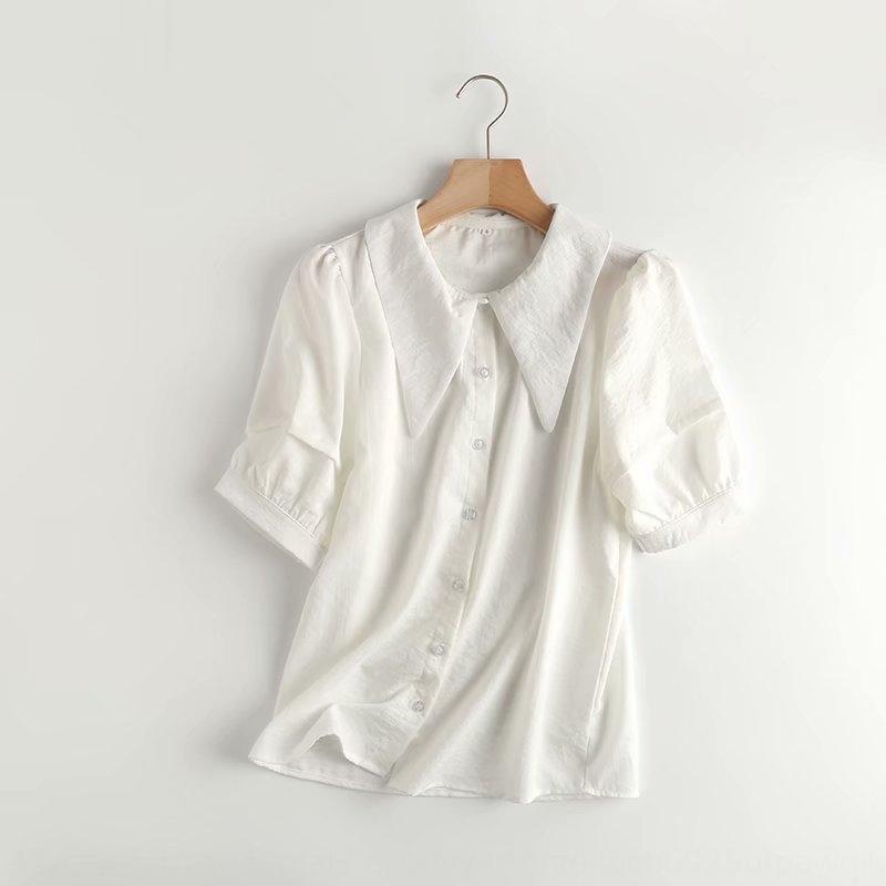 IYYog SZZ-571 delle donne 2020 estate nuova camicia di cotone e lino francese personalizzato punte bavero top Cotone e camicia di lino