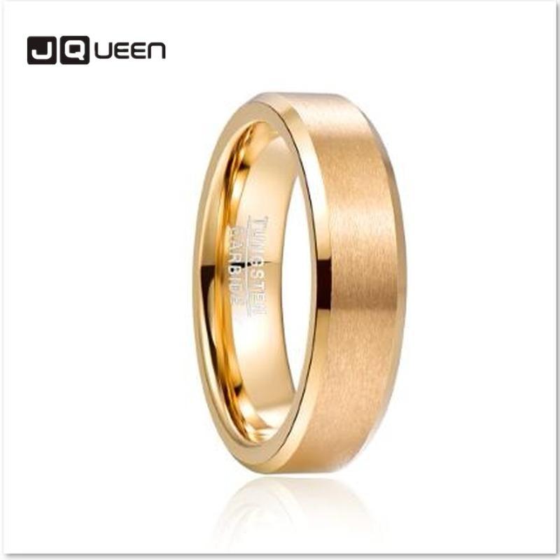 2020 Moda Basit JQUEEN 6mm Tungsten karbür yüzüğü Mat Son Eğimli Erkekler Altın Renk Rahatlık Fit Halka Takı
