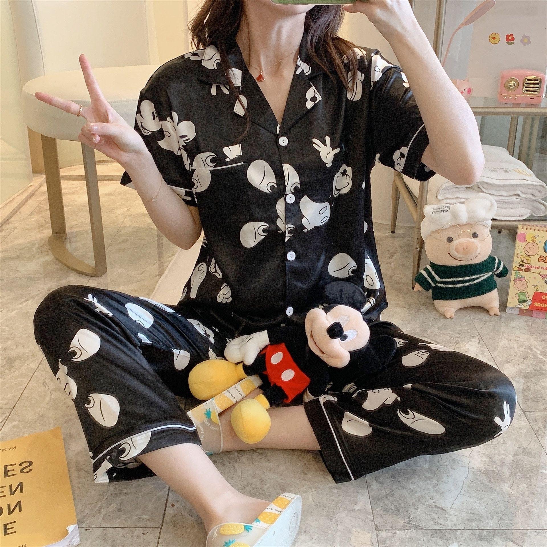 Primavera das xKpcn seda pijama mulheres e no Outono de curta duração solta cardigan fino Ice Silk desgaste casa roupa coreana roupa Pijama estudante vestir