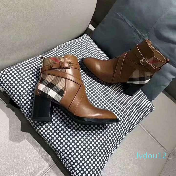 Горячие продажи- Дизайнерские сапоги для женщин Модный и изысканный женский сапоги на высоком каблуке и из натуральной кожи на открытом воздухе моды сапоги