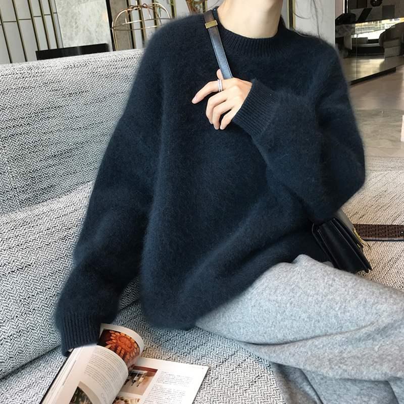 Frauen Herbst-Winter-Mink Kaschmir Schwarz lose Pullover volle Hülsen-runder Kragen Thick gestrickte Pullover Pullover