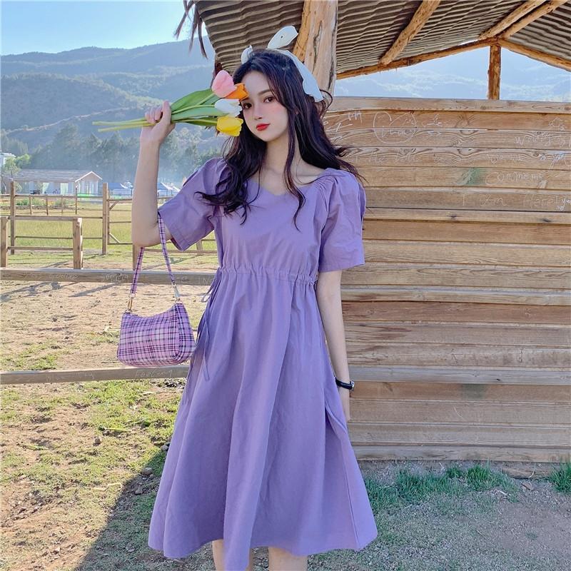 ptb8x vZZZG kadın h2623 dantel Fransız kadınların zayıflama etek zarif orta boy elbise ins için popüler kısa kollu ipli bağcıklı elbise