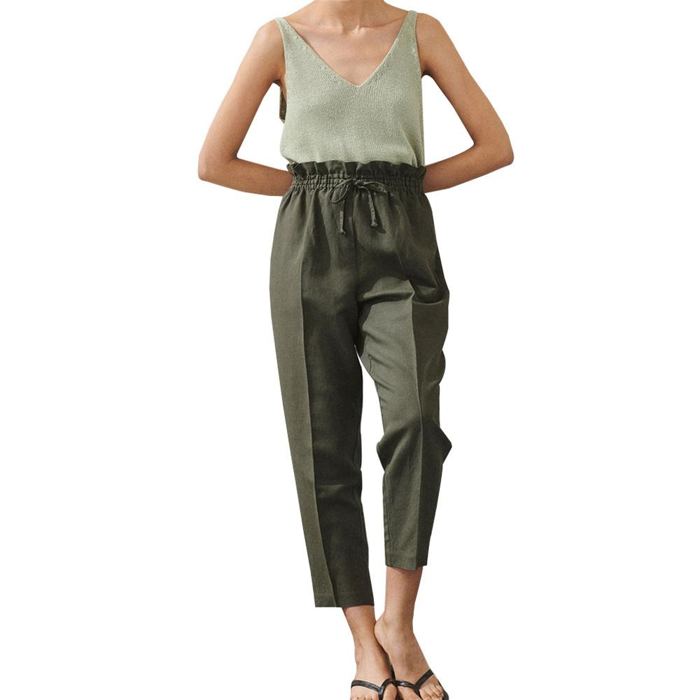 Crop Baggy Pants Women Army Green Black White Ruffles Korean Style Linen Cotton High Waist Straight Trousers Plus Size Oversized T200822