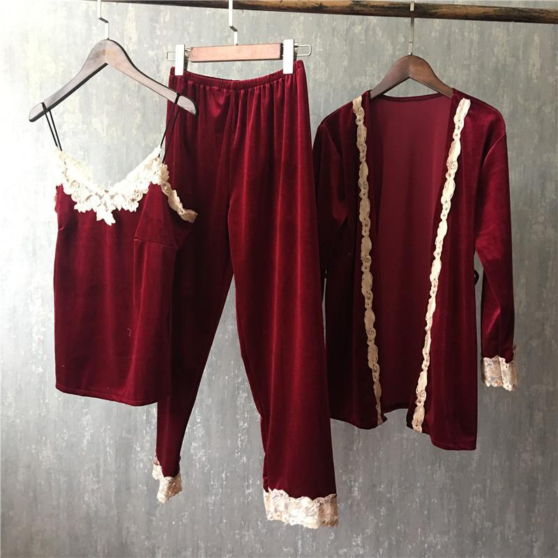 Winter Gold Velvet 3 шт Robe платье набора Womens Lace слинга Комплект рукава Кимоно Пижама Homewear пижама костюм 2020