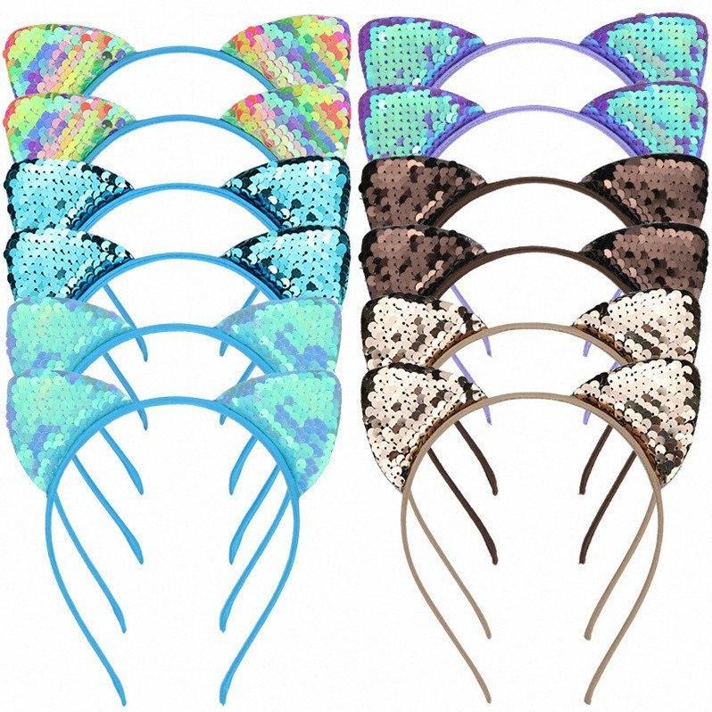 Glitter mignon flip Paillettes chat oreille hairband Filles réversible flip pailletée Fermoir Cheveux Hoop Birthday Party Bandeau enfants Headress D 7yC3 #