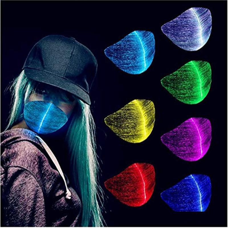 LED Rave Mask 7 Colors Luminous Light for Men Women Face Mask Music Party Christmas Halloween Light Up Masks JK2009XB
