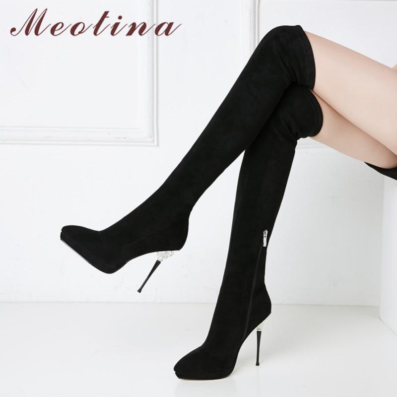 Diz Boots Üzeri Meotina Kış Dizden sonra Cizme Kadınlar Seksi İnce Stretch İnce Topuk Aşırı Yüksek Topuk Ayakkabı Lady Sonbahar 39 Zip