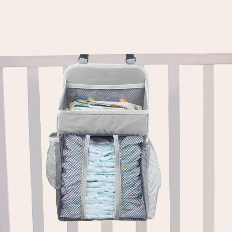 Crib Bed Hanging Bag High-quality Portable Lightweight Safety Grid Splicing Newborn Baby Bedside Nappy Diapers Organizer Bag