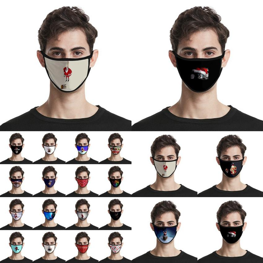 Masques Visage de Noël Adultes Enfants Mode 3D Père Noël Elk Imprimer Masque anti-poussière réutilisable bouche lavable couverture de Noël Masques visage CYZ2679