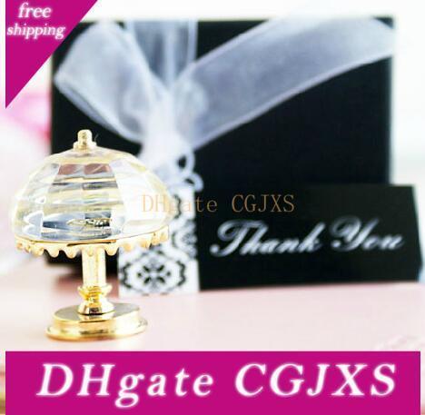 La boda de cristal lámpara de mesa de oro llanta con embalaje es quot; Gracias quot; elegante caja de regalo de bodas regalo de la decoración