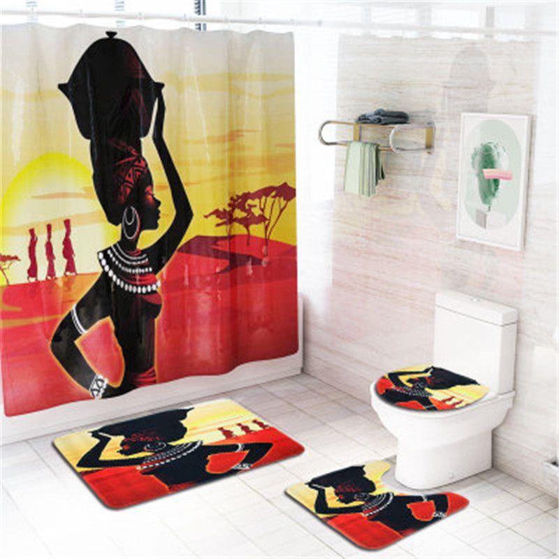 4 pçs / set Bathroom Mat Set Non-Slip Bath Mat Coral Fleece Chuveiro Duche Chão Lavável Banheiro Banheiro Toalete Tapete Decor