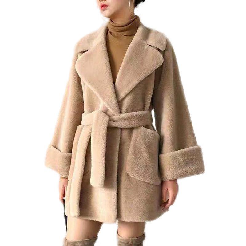벨트 양 울 모피 코트 정품 양 전단 코트 여성 T200905 리얼 모피 코트 여성 겨울 한국어 자켓