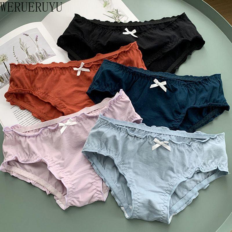 WERUERUYU 2PCS Mignon Bow femmes en dentelle plissée sans couture Underpants coton solide Culotte taille Moyen Lingerie Beau Slip fille