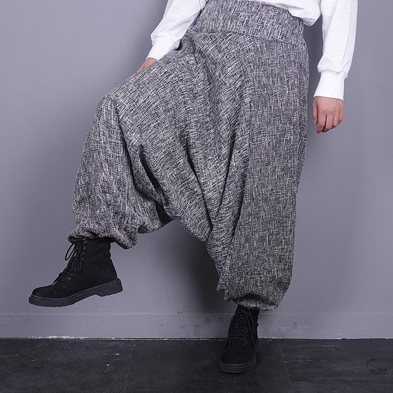Весна и осень белье Сыпучие Большой размер Повседневные брюки Elestic талии Гарем щиколоток штаны Женщина