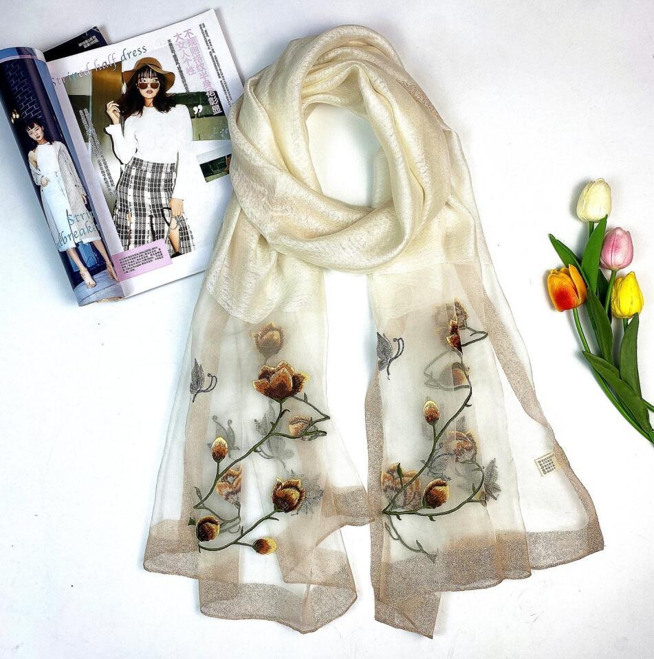 고품질 패션 2021 여자를위한 진짜 실크 스카프 인쇄 자수 봄 겨울 숄 스카프 크기 180x70cm 7 색