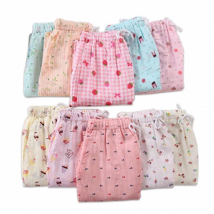 vendita calda estate 100% i pantaloni in casa in garza di cotone donne inferiori di sonno freschi pigiama pantaloni casual donne pigiameria pantaloni 2020 Y200425 9JnQ #