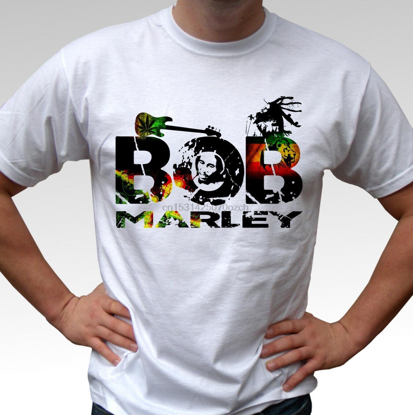 Bob Marley Diseño T Camisa blanca Rasta Reggae Top para hombre de 2020 nueva de la manera Ropa de la marca O-Cuello adolescente camiseta camisetas frescas