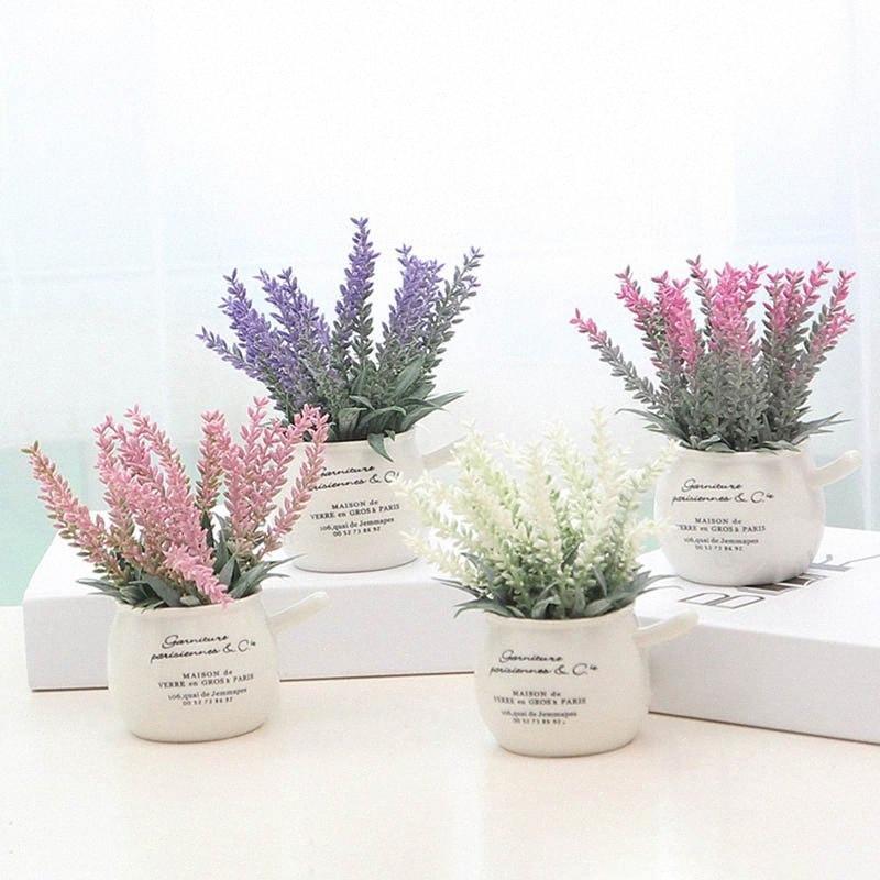 Yeni 1 Adet Yapay Mini Saksı Bitkileri Ev Dekorasyonu Lavanta Bonsai Saksı Çiçek wyua #