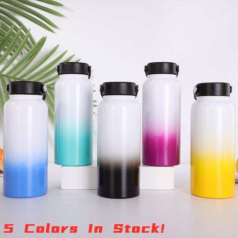 점진적 색상 이중 벽으로 둘러싸인 새는 것이 진공 머그컵 와이드 입 32 온스 대용량 플라스크에 물 병 32온스 5 개 그라데이션 색상