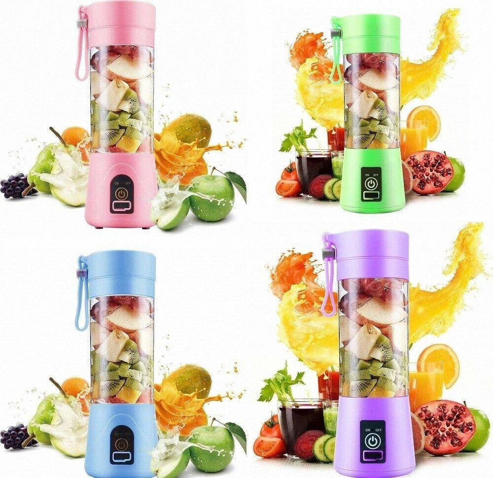 USB portátil eléctrico Juicer de la fruta de mano jugo de vegetales licuadora recargable jugo Taza Con cable de carga CCA11920 12pcs sQax #