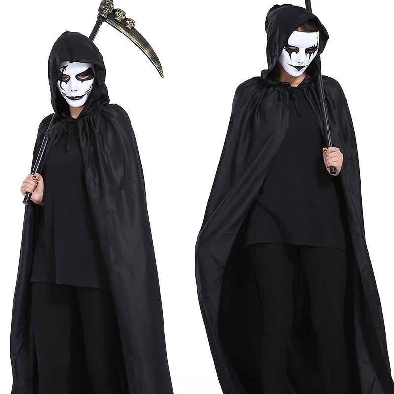 FNU4A New Halloween mort balle grand diable noir à capuchon New Halloween mort balle grand manteau noir à capuchon diable manteau