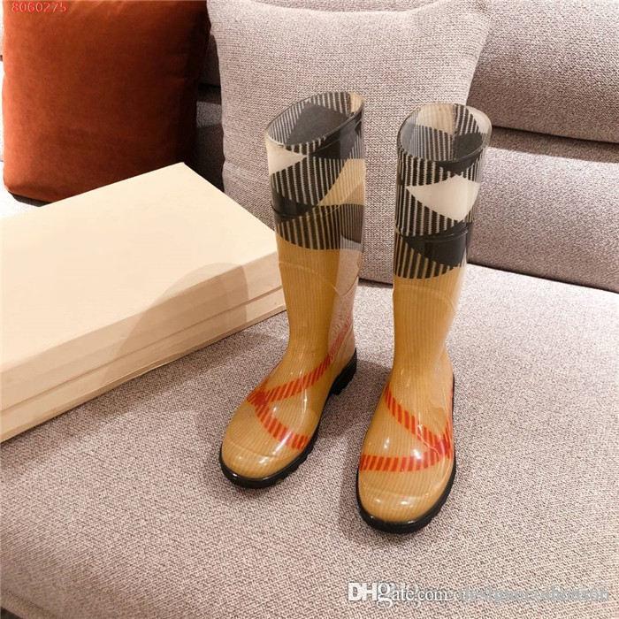 Леди соответствия цвета плед круглые головы среднего ботинки, износ - устойчивые и не - скольжения резиновых подошв низкий каблук ботинки дождя Оригинальная упаковка