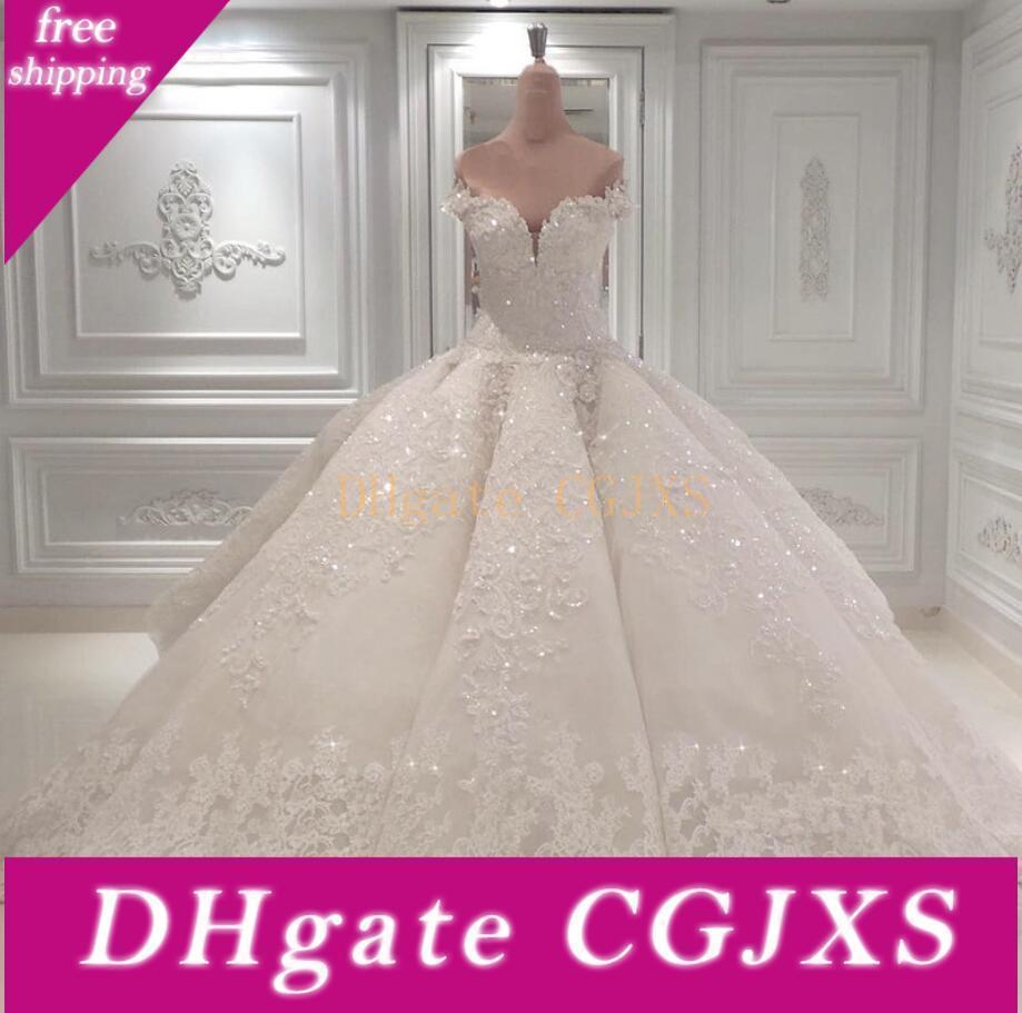 De lujo moldeado blanco de la bola vestidos de novia vestido de encaje 2020 fuera del hombro catedral de la iglesia apliques de encaje Vestidos de novia de tren Vestido de Noiva