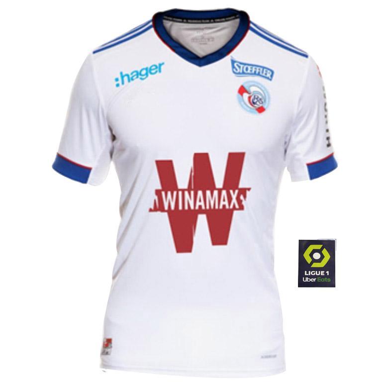 2020 RC ستراسبورغ مايلوت دي القدم الإلزاس لكرة القدم الفانيلة 2021 2020 أبيض أزرق 20 Zohi 26 Thomasson Lienard Lala Sissoko Football Commet
