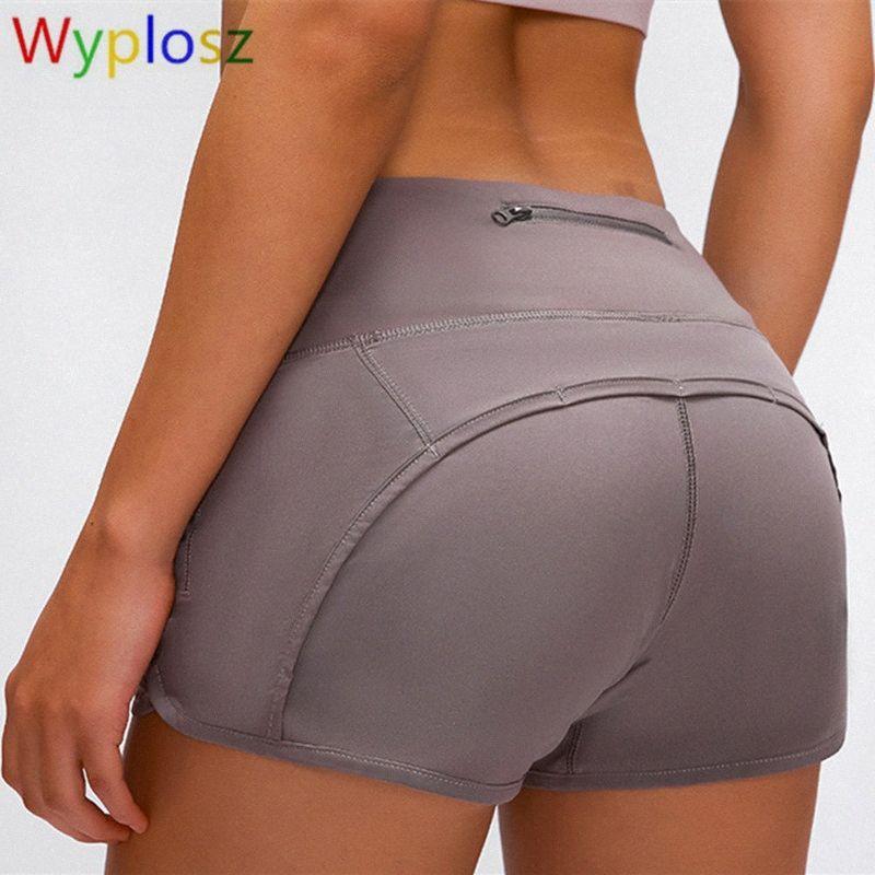 Wyplosz Йога Шорты Zipper Карманный Sexy высокой талией Peach BuStitching Running Hot Pants Йога Фитнес шорты тренажерный зал Ramt #