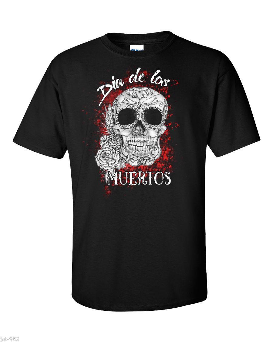 Fashion Design Livraison gratuite Dia De Los Muertos T-shirt mexicaine Crâne Goth punk rock Tattoo Gothic Metal New Imprimer col rond