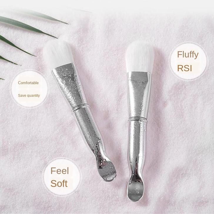 spazzola facciale morbida spazzola doppia testa maschera per capelli con il cucchiaio di miscela viso fard Pennello viso Cura della pelle Bellezza attrezzi di trucco
