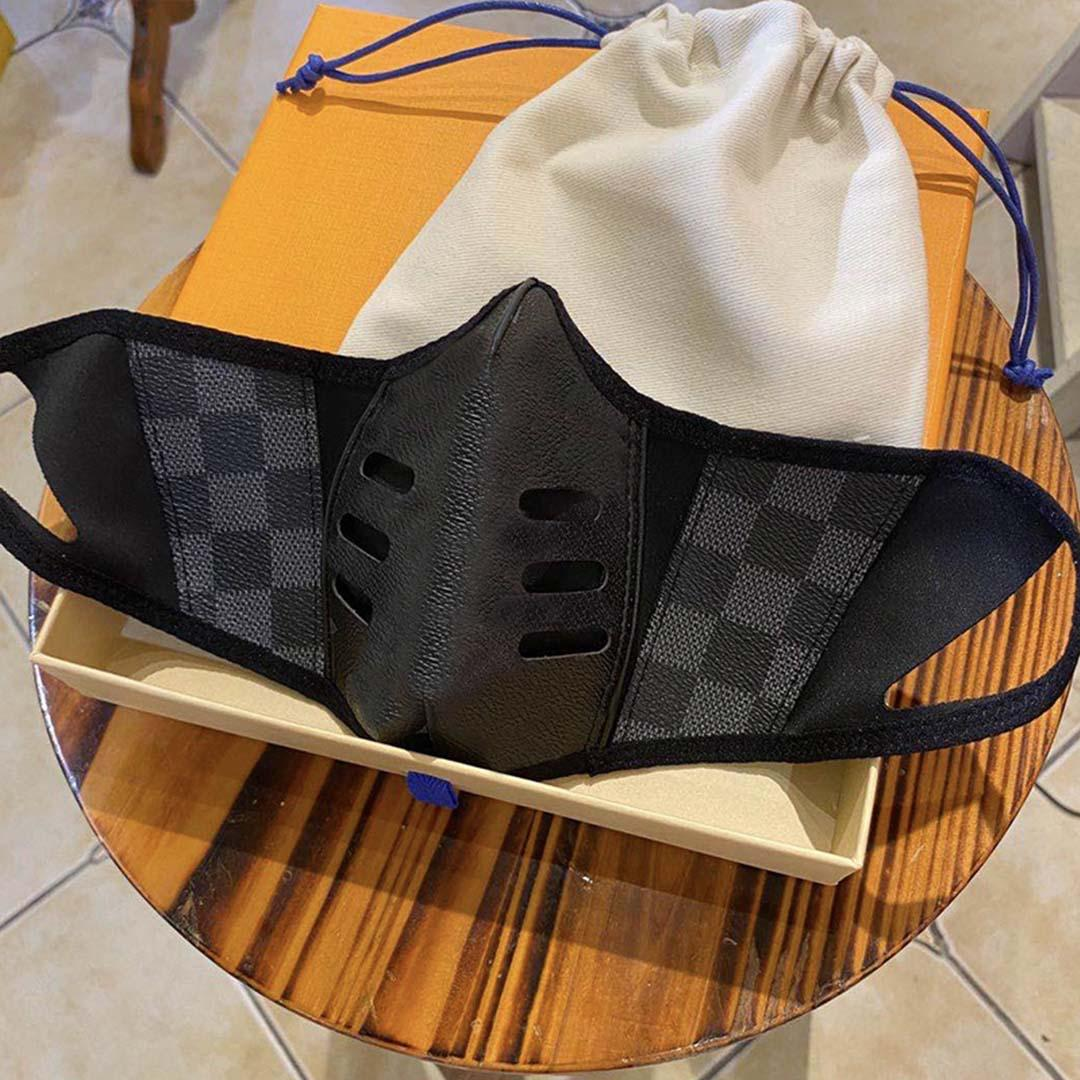 Fashion Designer Party Masks riutilizzabile Lux Pelle Maschera Plaid antipolvere viso Maschera di Halloween panno di cotone lavabile Maschera Viso copertina Uomini Donne