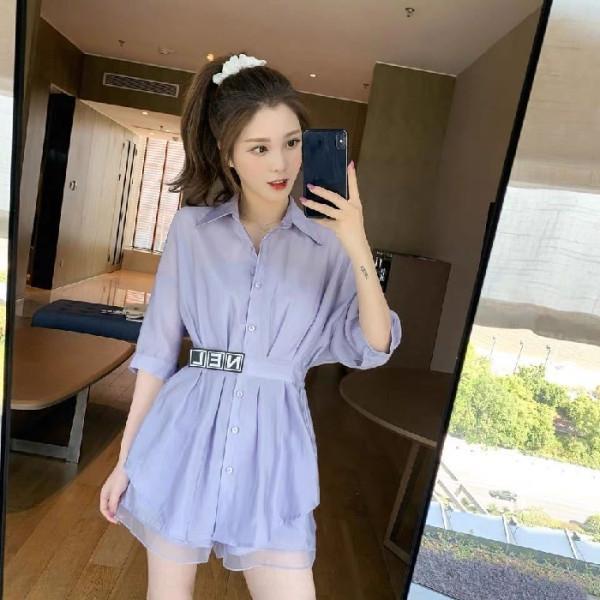 qC2hO xcKyy 2020 Estate Colore comodo elastico solido nuova vita slaccia la camicia + leggero di alta vestito di pantaloni dei pantaloni di bicchierini fissati sui bicchierini della vita