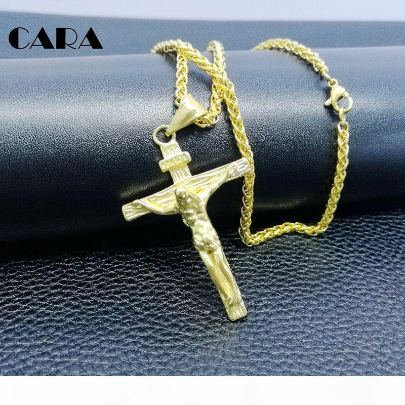 Cross INRI Crucifix Jesus Piece Pendant & Necklace Gold Color Stainless Steel hip hop Men Chain Christian Jewelry Gifts Vintage CAGF0147