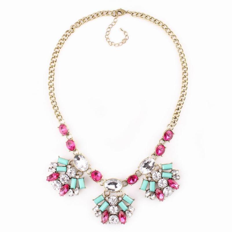Moda Vintage Altın Renk Uzun Kadınlar için Renkli Kristal kolye kolye Bildirimi Mücevher zincirleyin