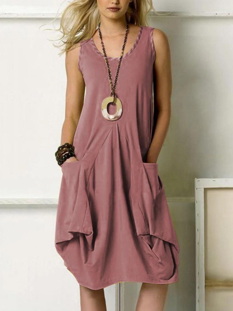Abiti da più stampati nel formato Abbigliamento Donna estate Donne Abiti casual colore solido Big Pocket irregolare