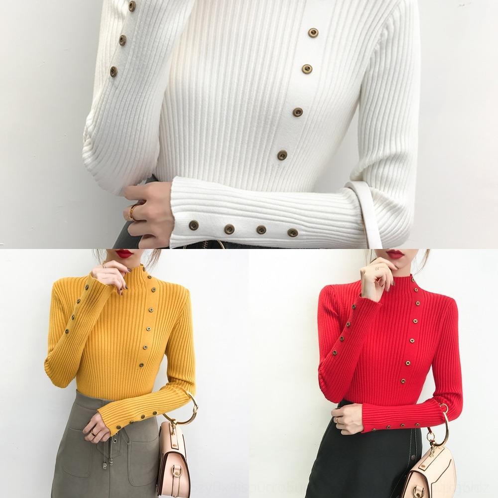 QXiwa Stil 2020 Pullover Pullover Frauen Frühling und Herbst neues Allgleiches koreanische nMXtp slim-fit grundiert Pullover Langarm-Pullover Halb h