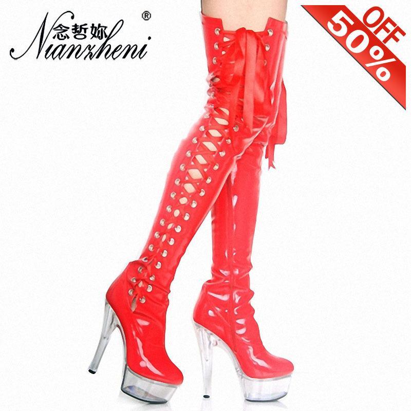 Botas sexy fetiche sobre o joelho coxa alta mulheres claras pvc 15cm saltos pólogos sapatos de calçados vermelho riband show