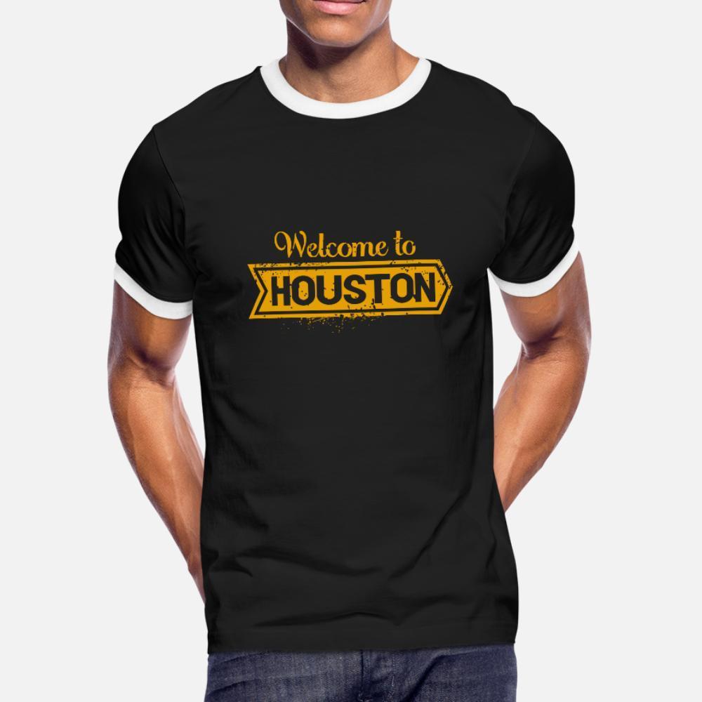 Bem-vindo ao Houston camiseta homens Character manga curta S-XXXL de base sólida de moda anti-rugas camisa Padrão Estilo Verão
