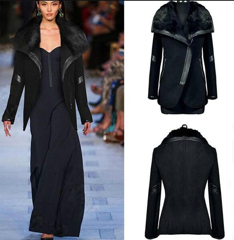 2020 Collar Negro de piel de abrigo nuevo de la manera invierno de las mujeres de la cremallera de manga larga de lana de invierno abrigos largos para las mujeres