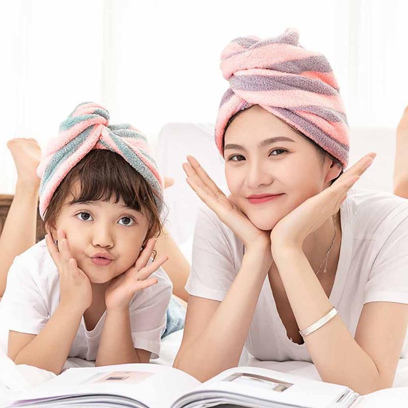 Mikrofiber Saç Hızla Kuru Saçlar Şapka Sarılı Havlu bonesi Banyo Ürünleri Bezi Çizgili kuru kap Şapka 2020