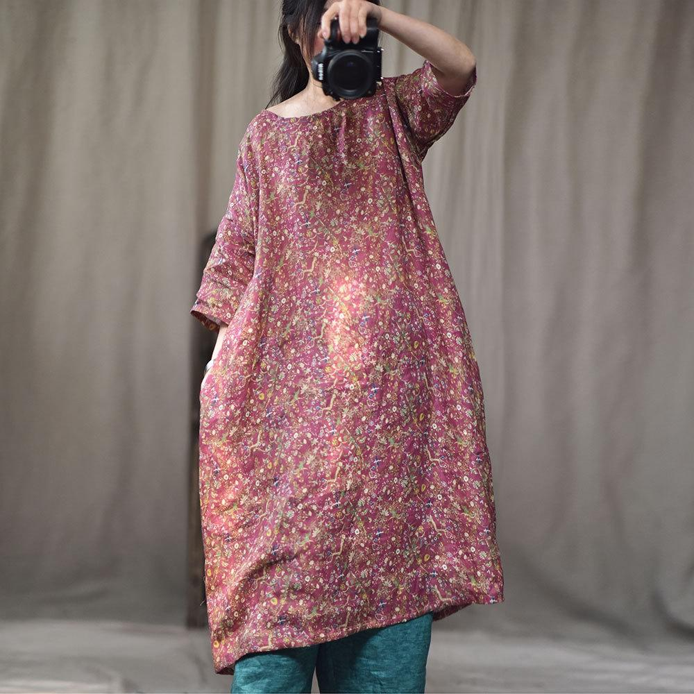 Zimo / primavera / verano nuevo y de alta contar vestido impreso vestido de algodón y lino sábanas de algodón digitales literaria ba8nt túnica suelta