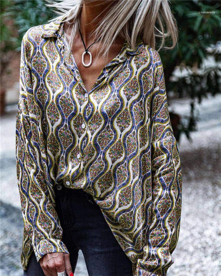 Manica Laple collo Tees monopetto modo regolare vestiti dei nuovi Arrvial progettista delle donne di stampa T-shirt lunga allentata