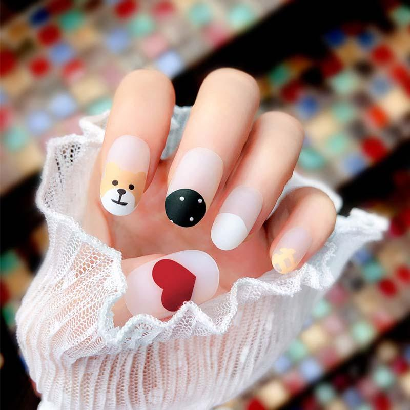 Pre Design Cute Cartoon Love Heart Bear Fake Nail Fashion Personality Matte Full Cover Artificial Fake Nails Press On Acrylic Nail Designs Fake Nails From Gorgeous08 13 2 Dhgate Com